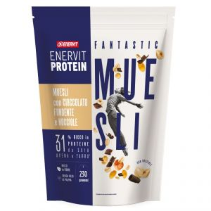 Enervit Protein Muesli con Cioccolato Fondente e Nocciole 230 g - 31% ricchi in proteine, da soia, avena e farro