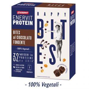 Enervit Protein Astuccio da 5 minipack Happy Bites al cioccolato fondente - Snack a base di fiocchi di soia e cioccolato