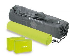 Set yoga con materassino yoga antiscivolo, 2 mattoni yoga e borsa con tracolla per il trasporto