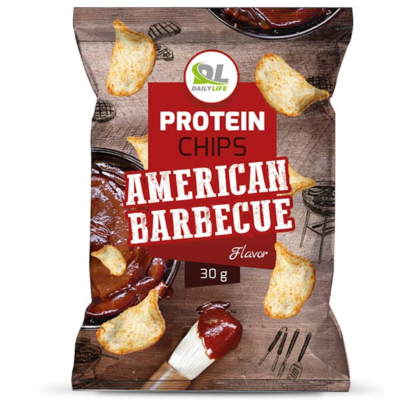 Daily Life Protein Chips American Barbecue Busta 30 gr - Delizione Patatine Soffiate NON Fritte - SCADENZA 31/01/2022