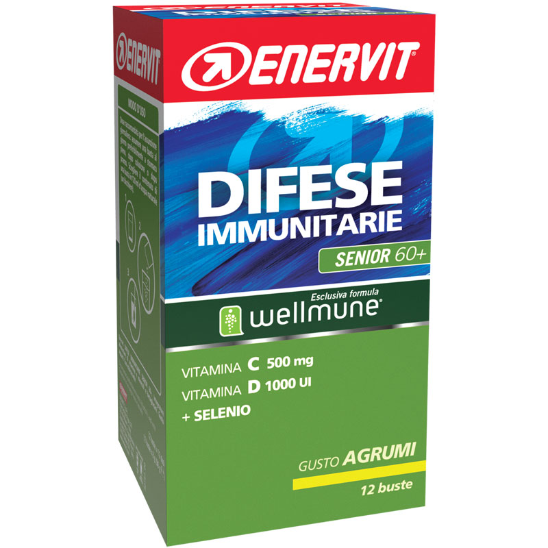 Enervit Difese Immunitarie Senior 60+ Box buste 12x8g Agrumi - Integratore di vitamine e minerali e betaglucani
