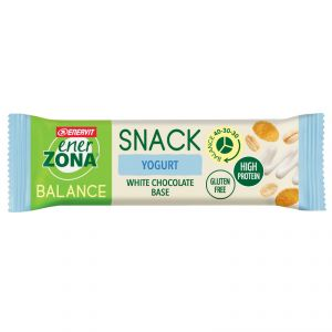 Enerzona Balance 40-30-30 Snack Yogurt - 10 Barrette 10x25g con base di cioccolato bianco - Ricco di proteine e fibre