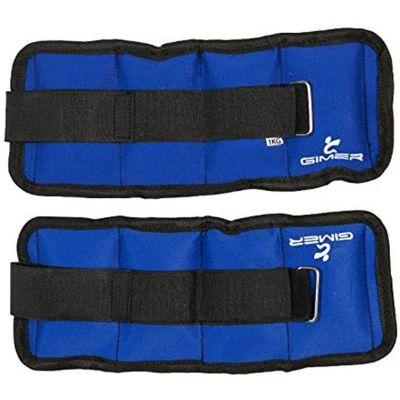 Coppia Cavigliere Polsiere Blu 2 x 0,5 kg Totale 1 kg mod. Gimer 13/001 - Ricoperte in Nylon di ottima qualità