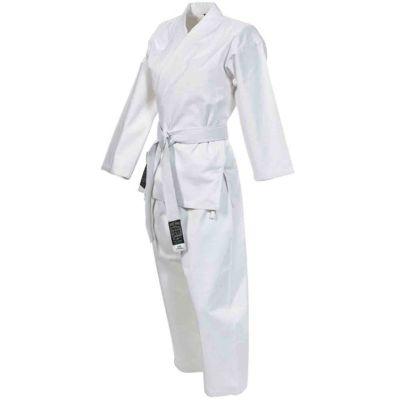Karate-Gi Scuola Senior Bianco mod. Gimer 11/003 con Cintura Bianca Inclusa - Taglia 4, Altezza 170 cm