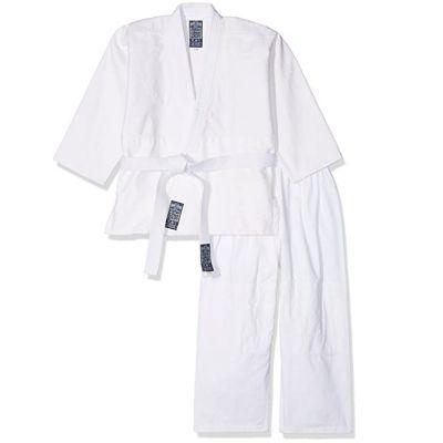 GIMER JUDO-GI Completo Bianco per Arti Marziali Unisex con Cintura inclusa - Taglia Bambino 0, Altezza 130 cm
