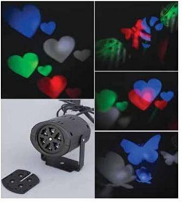 PROIETTORE LED RGB - Proiettore Multicolor da Interno con 8 figure natalizie