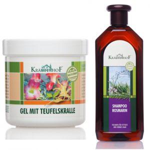 Gel Artiglio del Diavolo Krauterhof in Barattolo da 500 ml + Shampoo Curativo Antiforfora al Rosmarino 500 ml