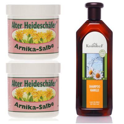 Special Pack con 2 Barattoli da 250 ml di Pomata Curativa all'Arnica + Shampoo Curativo Nutriente 500ml con Camomilla