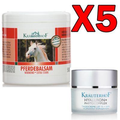 Kit 5 pz da 500ml Balsamo Cavallo Scaldante Extra-Forte + Crema acido ialuronico con protezione solare 15 e filtro UVA