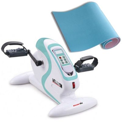 WELLY E EVERFIT Pedaliera elettrica per ginnastica passiva ed assistita + Materassino Fitness 180x50 cm