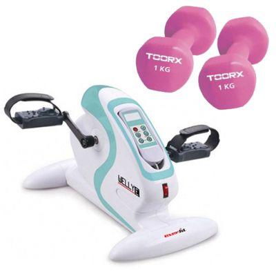 WELLY E EVERFIT Pedaliera elettrica per ginnastica passiva ed assistita + Coppia di Manubri in Neoprene da 1 kg