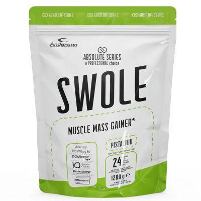 SWOLE MUSCLE MASS GAINER Busta 1200g gusto PISTACHIO - Integratore di proteine con zuccheri ed edulcorante