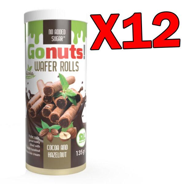 GoNuts Wafer Rolls - 12 Confezioni da 135 grammi di Bastoncini di Wafer farciti con crema di cacao e nocciole