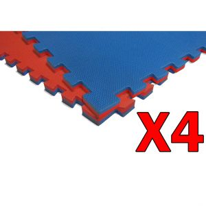4 TAPPETINI PUZZLE AD INCASTRO 2 CM Bicolore Rosso-Blu, Dimensioni 100x100 cm - Cornici incluse