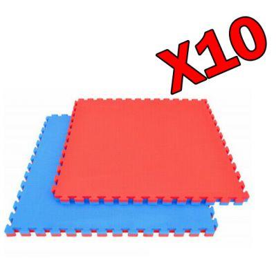 KIT RISPARMIO 10 MQ TATAMI DA 2 CM - Pavimentazione Bicolore Blu-Rossa con bordi inclusi