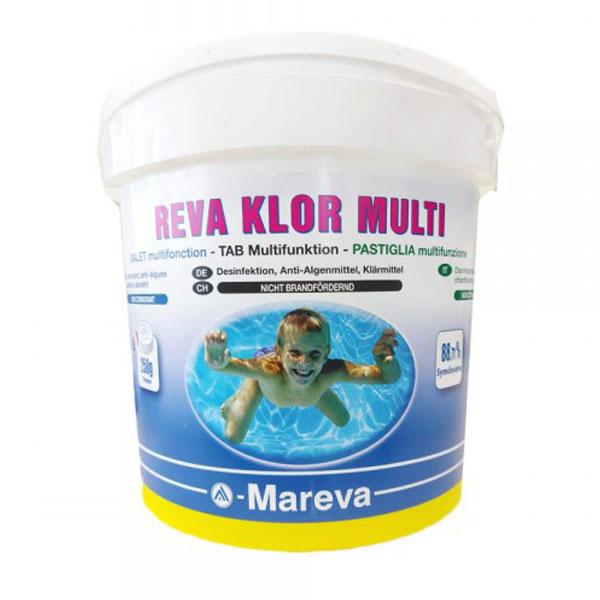 REVA KLOR MULTI in secchio da 5 kg - Cloro Multifunzione in pastiglie da 250 grammi per trattamenti di mantenimento