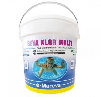REVA KLOR MULTI HIGH QUALITY Secchio da 25 kg - Cloro Multifunzione in pastiglie da 250g per trattamenti di mantenimento