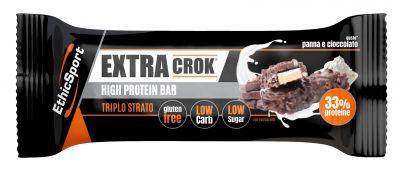 EthicSport Box 18 Barrette Extra Crock Panna e Cioccolato 18x50 g - Barrette ad Alto Contenuto Proteico (33%)