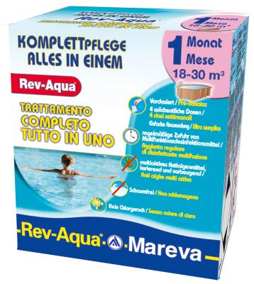 REV-AQUA 18-30 M³ - Trattamento completo di 1 mese per piscine da 18000 a 30000 Litri