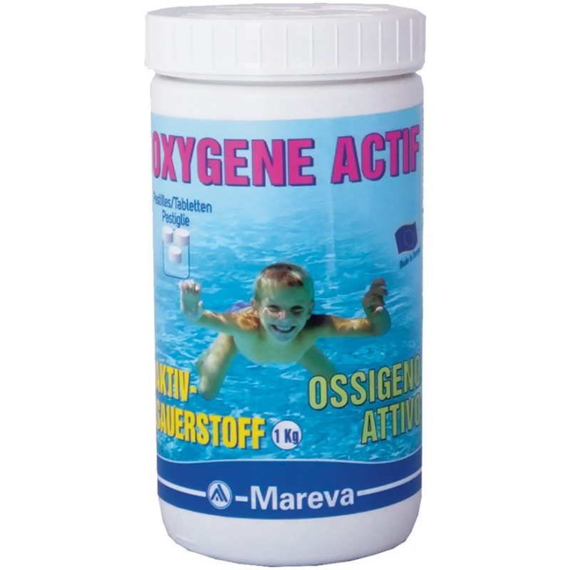 OXYGENE ACTIF MAREVA Barattolo da 1 kg - Ossigeno Attivo in pastiglie da 50 grammi disinfettante senza cloro