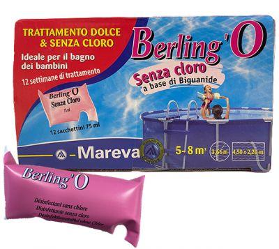 BERLING'O 12 Sacchetti da 75 ml - Trattamento Dolce Senza Cloro per piscine piccole da 5 a 8 metri cubi