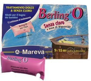 BERLING'O 12 Sacchetti da 180 ml - Trattamento Dolce Senza Cloro per piscine fuoriterra da 9 a 15 metri cubi