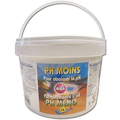 PH MENO AIGA by MAREVA in Secchio da 5 kg - Composto granulare per la riduzione del valore di ph in piscina