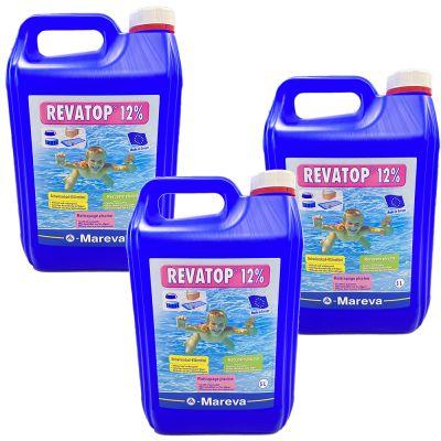 KIT RISPARMIO 15 LITRI REVATOP 12% - Ossigeno Attivo per trattamento curativo e preventivo della piscina