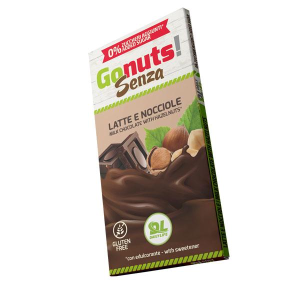 Daily Life Gonuts! Senza 75 g Gusto Latte e Nocciole - Tavolette di cioccolato Gluten Free Vegan