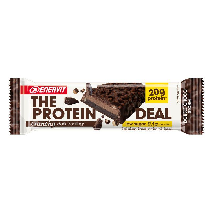 Enervit The Protein Deal Crunchy Dark Coating  55 g - Barretta proteica (20 g) Senza Glutine e Low Sugar