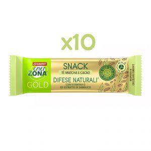 EnerZona 10 Snack 40-30-30 Gold Difese Naturali 10x31 g - 10 Barrette gusto cacao con filling al tè matcha