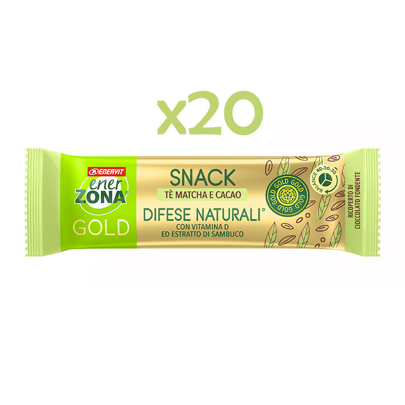 EnerZona 20 Snack 40-30-30 Gold Difese Naturali 20x31 g - 20 Barrette gusto cacao con filling al tè matcha