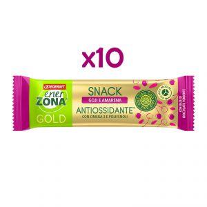 EnerZona 10 Snack 40-30-30 Gold Antiossidante 10x25 g - 10 Barrette gusto goji e amarena, base di cioccolato fondente