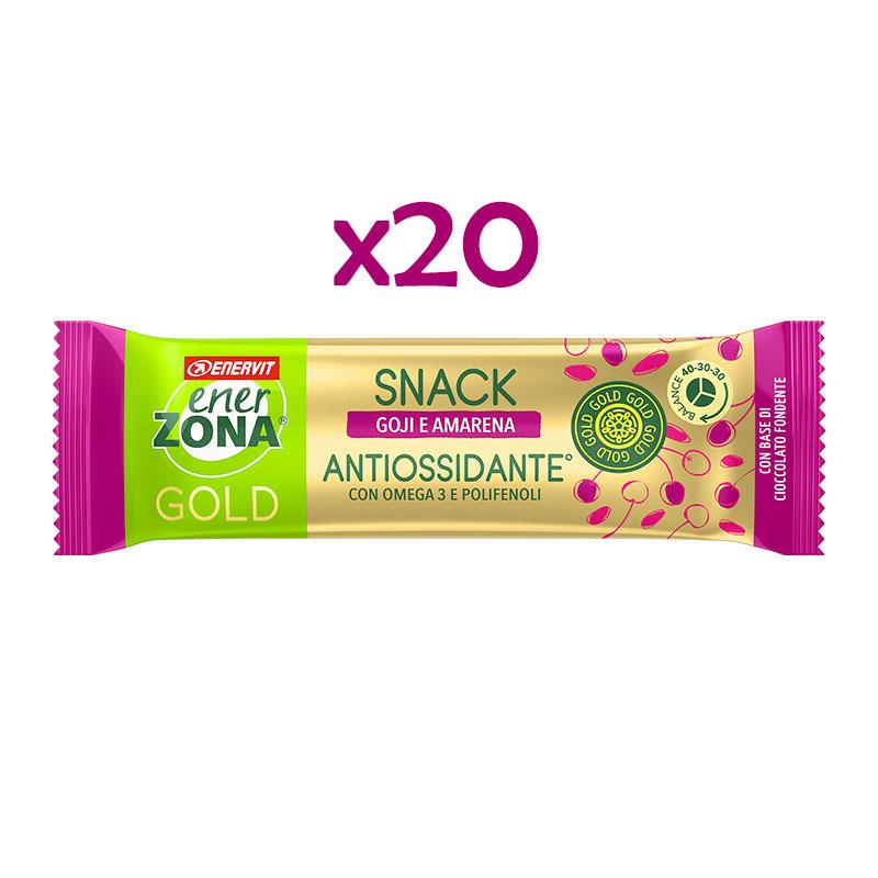 EnerZona 20 Snack 40-30-30 Gold Antiossidante 20x25 g - 20 Barrette gusto goji e amarena, base di cioccolato fondente