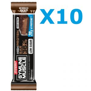 Enervit Gymline High Protein Bar 36% Dark Choco - Conf 10 Barrette proteiche da 55g con doppia copertura fondente