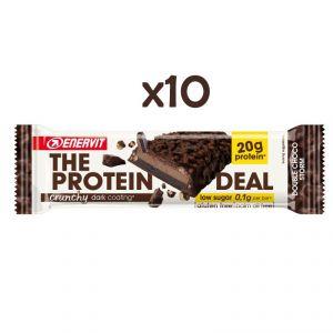 Enervit 10 The Protein Deal Crunchy Dark Coating 10x55g - 10 Barrette proteiche (20 g) Senza Glutine e Low Sugar