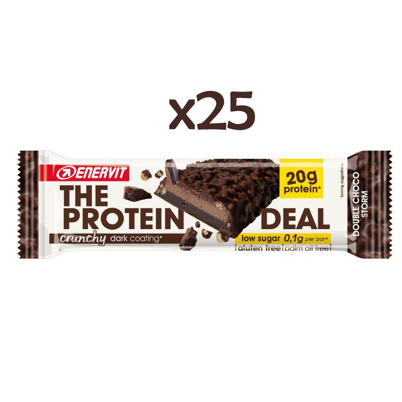 Enervit 25 The Protein Deal Crunchy Dark Coating 25x55g - 25 Barrette proteiche (20 g) Senza Glutine e Low Sugar