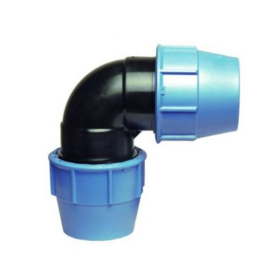 RACCORDO A GOMITO 90° FEMMINA-FEMMINA A COMPRESSIONE LISCIO 50X50 MM - Raccordo in PE per tubo rigido e semirigido