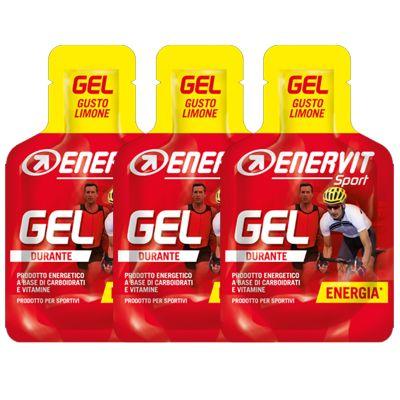 Enervit Sport Gel, set 3 mini-pack da 25 ml, gusto limone - Energetico liquido con carboidrati e vitamine