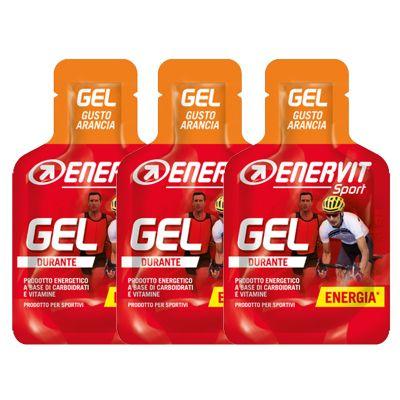 Enervit Sport Gel, kit 3 mini-pack da 25 ml, gusto arancia - Energetico liquido con carboidrati e vitamine