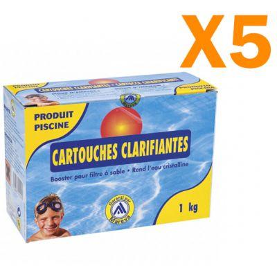 Cartouche Clarifiante Joker Mareva - Kit risparmio con 5 scatole da 1 kg di flocculante in cartucce