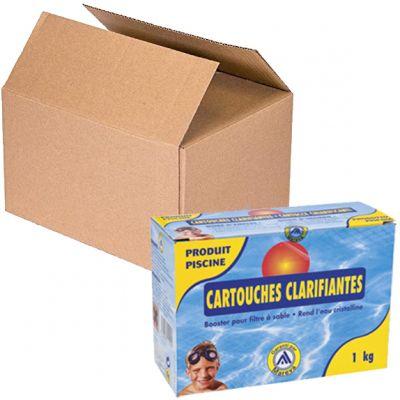 KIT MAXI RISPARMIO Cartucce Chiarificanti 12 Scatole da 1 kg, totale 96 sacchetti da 125 grammi - Per filtri a sabbia