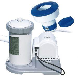 KRYSTAL CLEAR 56636 Pompa Filtro a Cartuccia Tipo A, Capacità 5678 lt/h + Dosatore Galleggiante per Pastiglie di Cloro