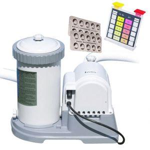 KRYSTAL CLEAR 56636 Pompa Filtro a Cartuccia, Capacità 5678 lt/h + Kit Analisi Cloro e PH Piscina