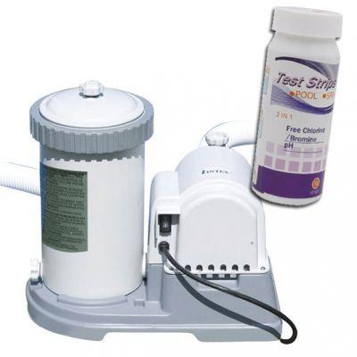 KRYSTAL CLEAR 56636 Pompa Filtro a Cartuccia, Capacità 5678 lt/h + Test 2 in 1 ph e cloro, conf 50 striscette