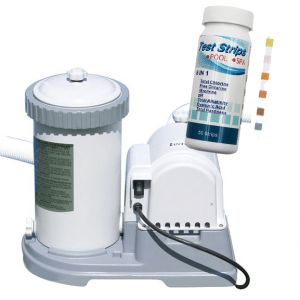 KRYSTAL CLEAR 56636 Pompa Filtro a Cartuccia, Capacità 5678 lt/h + Kit Analisi 6 in 1, confezione 50 striscette