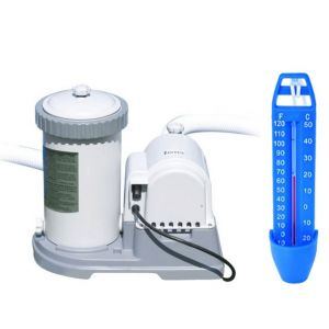 POOL KIT con Pompa Filtro Krystal Clear 56634 a Cartuccia Tipo B con portata 9463 lt/h + Temometro Galleggiante da 25 cm
