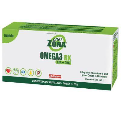 ENERZONA OMEGA 3 RX in Astuccio con 5 flaconi da 33,3 ml gusto LIMONE - Acidi grassi Omega 3 - scadenza 03/10/2021