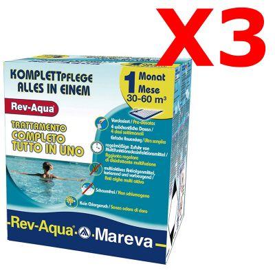 SUPER OFFERTA REV-AQUA 30-60 M³ - Trattamento completo di 3 mesi per piscine con volumi da 30000 a 60000 Litri