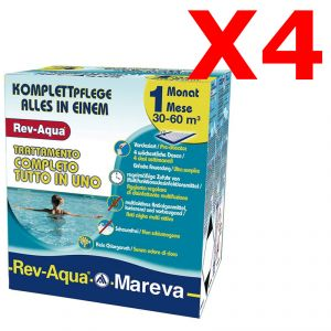 MAXI OFFERTA REV-AQUA 30-60 M³ - Trattamento completo di 4 mesi per piscine con volumi da 30000 a 60000 Litri